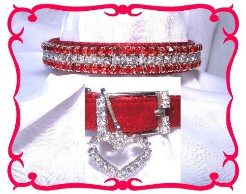 Red Velvet & Diamonds Crystal Rhinestone Pet Dog Cat Pet Collar 304 Small