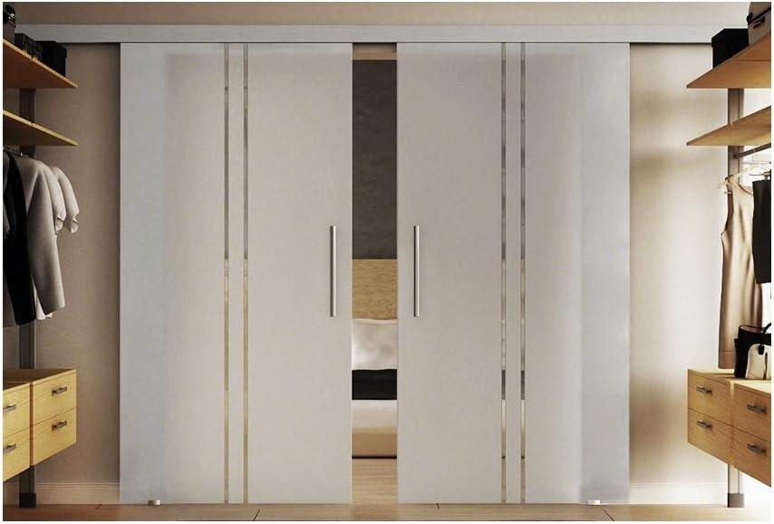 Puertas correderas de cristal en el interior de 2 x 102.5 x 205 cm en vidrio templado-vidrio esmerilado con vertical (T) Levidor tira EasySlide-sistema completo. Duración de la batería del carril y