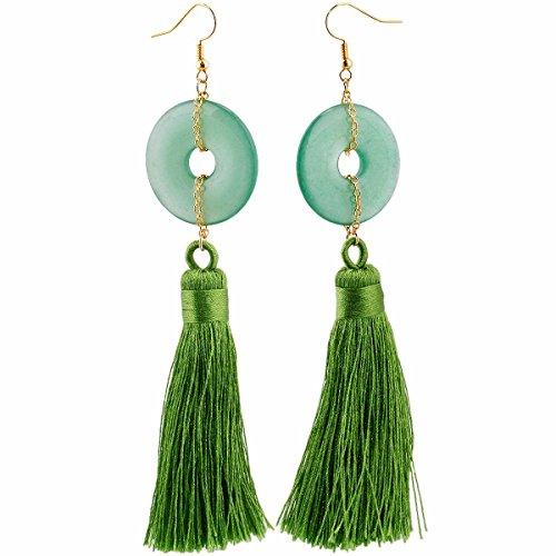 Aventurine Donut (TUMBEELLUWA Tassel Dangle Earrings Healing Crystal Quartz Druzy Fringe Thread Drop Earring Handmade Jewelry for Women,Green Aventurine(Donut))