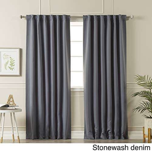 Aurora Home Solid Insulated Thermal Blackout Curtain Panel Pair Stonewashed Denim 52 x 72