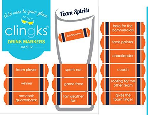 Clingks Go Broncos Team Spirits Football Super Bowl Drink Marker Set – Hip Alternative to Beer - Chooser Glasses