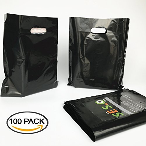 sesco-12x15-inches-glossy-black-plastic-merchandise-bags-die-cut-shopping-bags-retail-bags100-pack