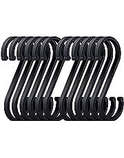 Queta S-haken, 12 zwarte S-haken, space-aluminium S-haken, kledinghangers voor keuken, badkamer, slaapkamer en kantoor