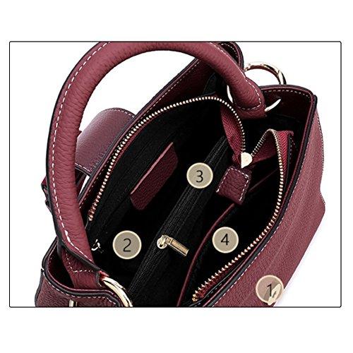 bandoulière élégant Vin d'épaule Large Sac Uk Femmes Mena main Sac véritable Style rouge Décontractée Cuir à qxnfPwazA
