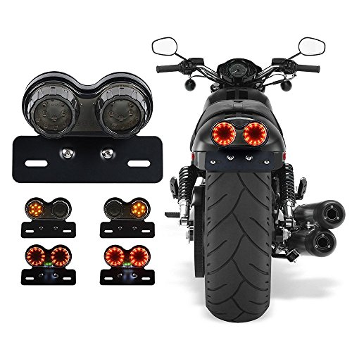 ANKIA 40-LED 40W Motorcycle Tail Light Integrated Running Lamp Brake&Turn Signal Light with License Plate Bracket for Harly Motorcycle Street Bike Cruiser Chopper (Black) (Vmax Turn Yamaha Signals 1200)