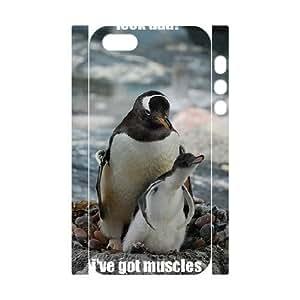 3D Stevebrown5v Penguin Case For Htc One M9 Cover Case Men Cool Penguin I've Got Muscles, Cell Phone Case For Htc One M9 Cover [White]