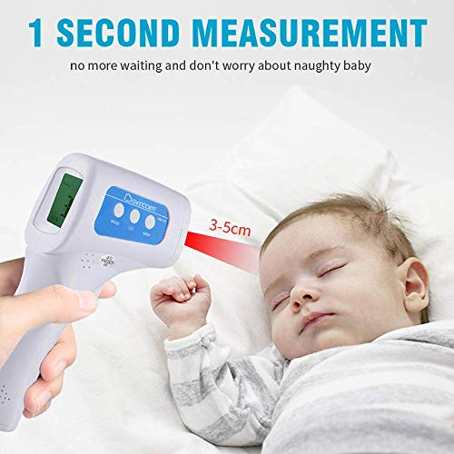 IR Infrared Digital Non-Touch Thermometer Gun with Three Color LCD Screen for Adult and Baby Forehead, Ear and Body Temperature with Fever Alarm and Memory Function