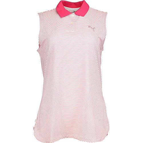 PUMA Golf Women's 3D Stripe Sleeveless Polo, Rose Red, Medium