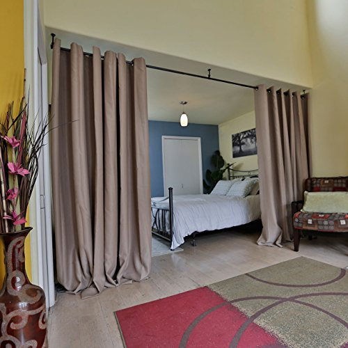 RoomDividersNow Premium Heavyweight Room Divider Curtain, 8ft Tall x 15ft Wide (Mocha)