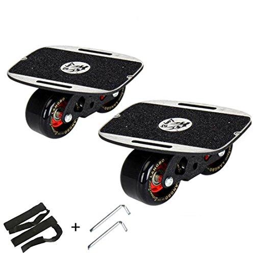 Roller Road Drift Skate Plates Portable Anti-slip Board Split Skateboard All-in-one Aluminum Alloy with PU Wheels (Black)