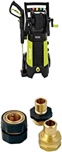 Sun Joe SPX3001 2030 PSI 1.76 GPM 14.5 AMP Electric Pressure Washer with Hose Reel, Green WITH Powerwasher 80006 Universal Pressure Washer Garden Hose Quick-Connect Kit