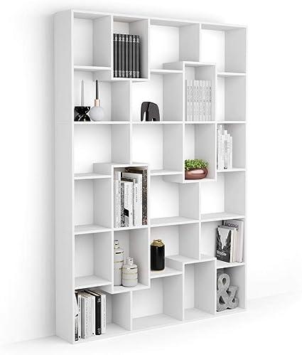 Mobili Fiver, Estantería M Iacopo (160,8 x 236,4 cm), librería Fresno Blanco, Aglomerado y Melamina, Made in Italy
