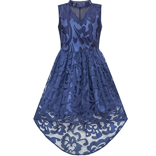 Girls Dress Navy Blue Lace Halter Hi-Low Dress Dancing Party Size 12
