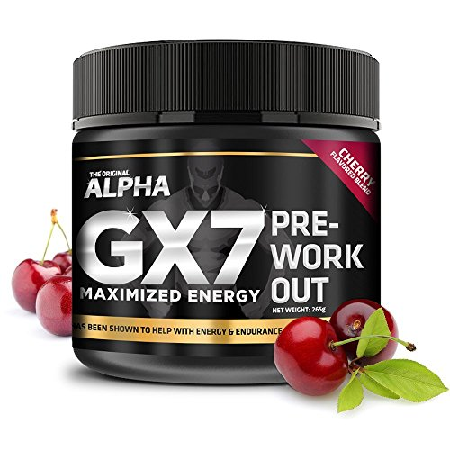 Alpha Gx7 Pre Workout Powder - Energy Drink for Workouts 265g - 30 Servings Cherry'Blast' Flavor