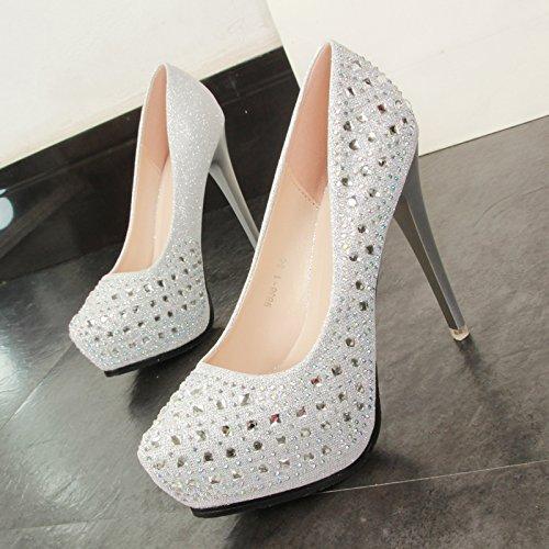 GTVERNH Damenschuhe 12Cm Schuhe Schuhe Schuhe mit Hohen Absätzen Im Frühjahr und Herbst Sharp Hat Bohrer Dünnen Schuhen Silberne Schuhe mit Einzelnen Schuhe. 3da7a4