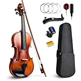 Vangoa Solid Wood Acoustic Violin Fiddle Outfit for Beginner Student, 4/4 Full size