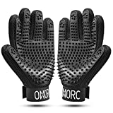 OMORC Pet Grooming Gloves - Gentle Deshedding Glove with Grooming & Massage Tips, Soft & Durable Material, Adjustable Wrist Straps, Ideal for Dog, Cat, Horse, Rabbit etc, Long, Short & Curly Fur