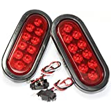 "BAYM 2PK 1 Pair 12V Red 6"" Oblong Oval LED 10 Diode Tail Light W/grommet & Plug Truck Trailer Sealed for Truck,Trailer (Turn, Stop, and Tail Light)"