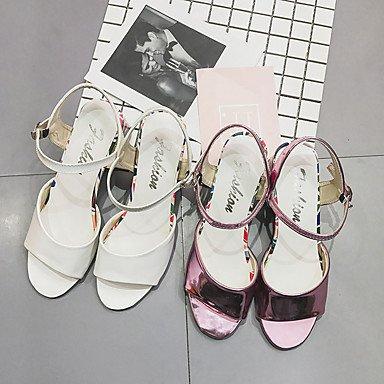 LvYuan Mujer Sandalias PU Verano Paseo Hebilla Talón de bloque Blanco Rosa 5 - 7 cms blushing pink
