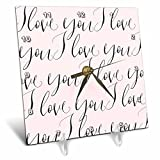 3dRose PS Inspiration - Image of Pink Black I Love You - 6x6 Desk Clock (dc_280698_1)