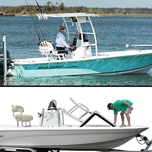 FISHMASTER MARINE TOWERS AND ACCESSORIES Boat TTOP for Center Console Fishing Boats- Universal FIT - White Power Coat - Pacific Blue - Pro Series