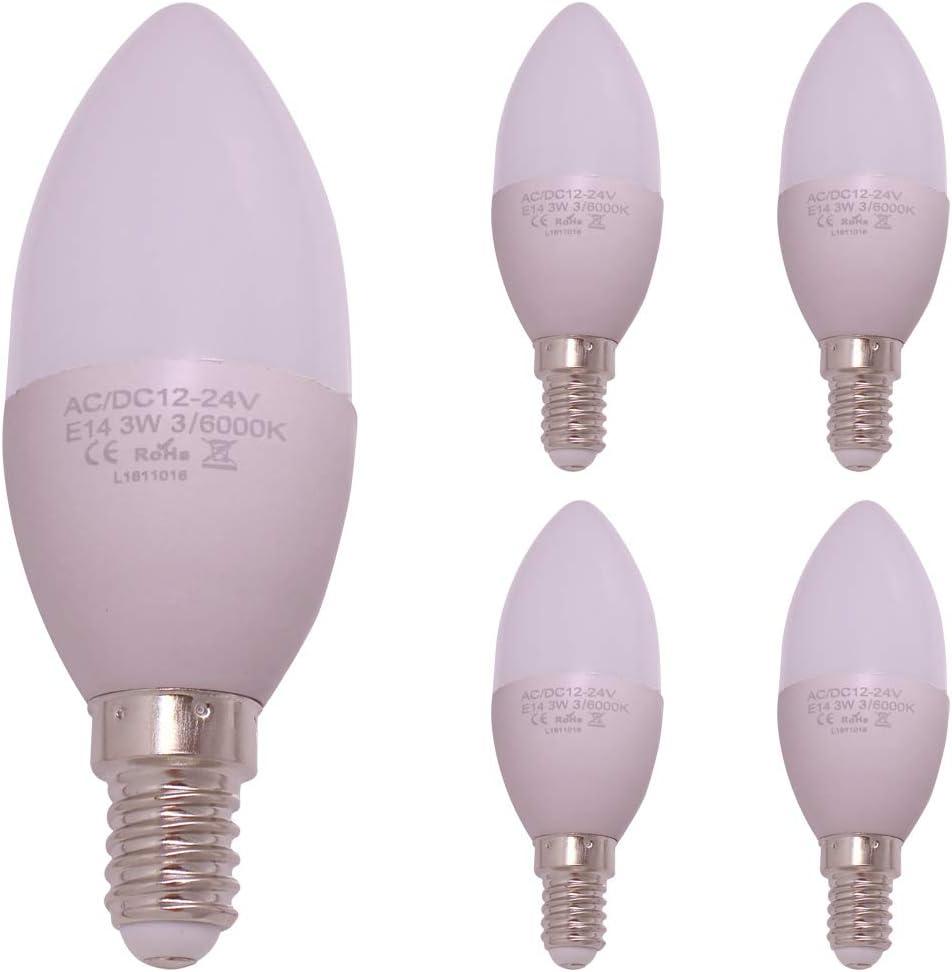 Bombilla LED de vela E14, 12 V CC, 24 V, C35, voltaje seguro, 12 V CC, 24 V, 3 W, 30 W, halógena, bombillas de candelabro, 350 lm, blanco cálido, 5 unidades, Warm White, E14, 3.00W 12.00V