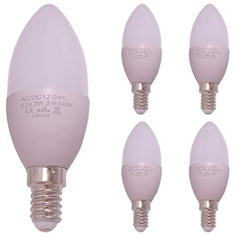 Bombilla LED de vela E14, 12 V CC, 24 V, C35, voltaje seguro, 12 V CC, 24 V, 3 W, 30 W, halógena, bombillas de candelabro, 350 lm, blanco cálido, 5 ...