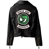 IFITBELT Mujer Chaquetas Riverdale Southside Jacket De PU Cuero Niña Serpientes Logo Impreso Moto Abrigos