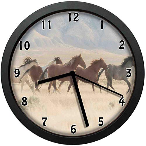 luckboy-zm Wild Mustang Horses Herd Running in a Valley Utah Outdoor Scenery Photographylarge Wall Clock Home Office School Wall Clock 10in(About 25CM)