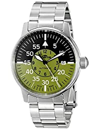Fortis Watch Men's 595.11.16 M Flieger Cockpit Olive Analog Display Automatic Self Wind Silver Watch