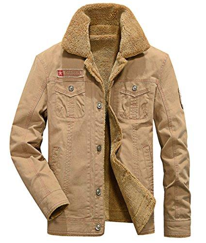 KEDERA 2018 Men's Winter Wool Blend Warm Thicken Jacket Stand Collar Coat Outerwear (X-Large, Khaki) -
