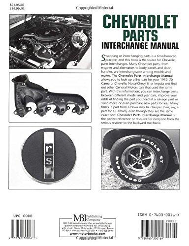 Chevrolet Parts Interchange Manual 1959 1970 Motorbooks Workshop