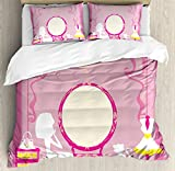 Girls Duvet Cover Set by Ambesonne, Lady Sitting in front of French Cosmetic Make-Up Mirror Furniture Dressy Design, 3 Piece Bedding Set with Pillow Shams, Queen / Full, Pink Yellow
