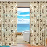 Cheap SEULIFE Window Sheer Curtain Dog Animal Paw Print Voile Curtain Drapes for Door Kitchen Living Room Bedroom 55×84 inches 2 Panels