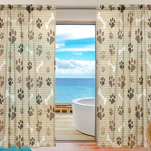 SEULIFE Window Sheer Curtain Dog Animal Paw Print Voile Curtain Drapes for Door Kitchen Living Room Bedroom 55×78 inches 2 Panels