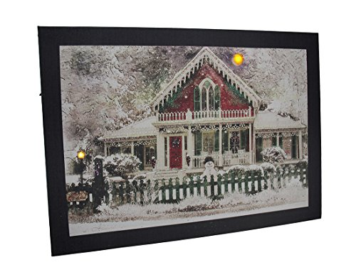 Snow Covered Fence - Zeckos Canvas Prints Led Lighted Snow Covered Festive Holiday House Canvas Print 16.75 X 12 X 0.75 Inches Multicolored