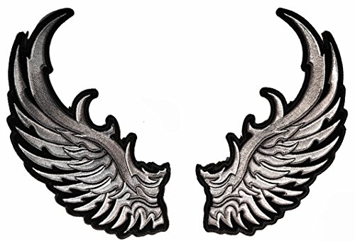 (Silver Eagle Paired Angel Wings L & R Large Embroidered Back Patch 8 inch IVANPL3783)