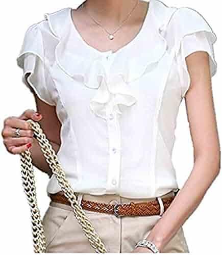 a21faecf Taiduosheng Women Slim Fit Ruffles OL Business Plus Size Blouse Top Shirt