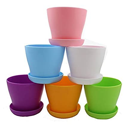 Amazon.com: Zicome 6 Pack Colorful Round Plastic Plant Pots with ...