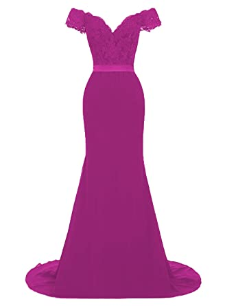Miao Duo Off Shoulder Fuchsia Bridesmaid Dresses Long Formal Prom Evening Gown