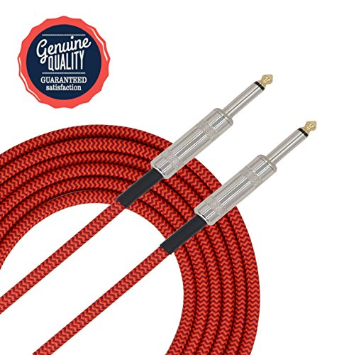 Guitar Stand Tweed - Sonobono Professional Noiseless Music Instrument Cable 1/4-Inch Straight with Braided Tweed Woven Jacket for Guitar, Bass Guitar, AMP, and Keyboard (4.6m/ 15 Feet, Apple Red)