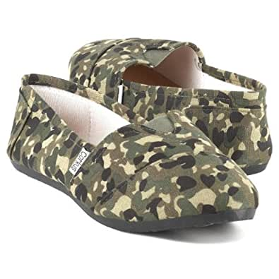 Corkys Footwear Women's Sues Casual Shoes Canvas Flats Shoes (6, Green Camo)