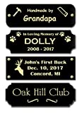 Gloss Black Brass Nameplate Personalized Custom Laser Engraved Sign Tag Notched Square or