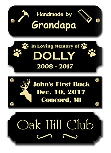Gloss Black Brass Nameplate Personalized Custom Laser Engraved Sign Tag Notched Square or Round Corners Choose Your Size and Text Gold Text