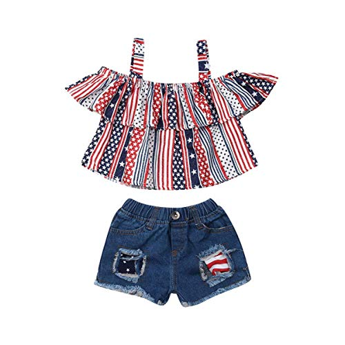 Toddler Kids Girls 4th of July Outfits Ruffled Halter Off Sholuder Tops+Ripped Demin Shorts Jeans Summer Clothes Set (2-3