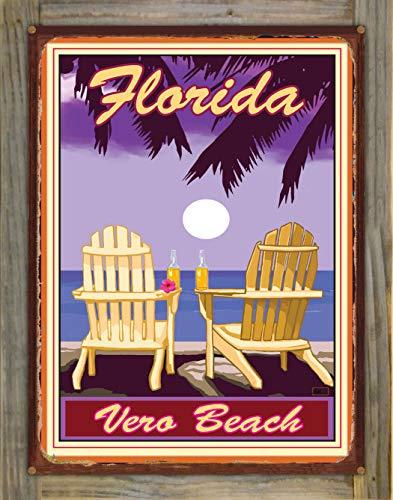 Northwest Art Mall Vero Beach Florida Adirondack Chairs Palms Corona Rustic Metal Print on Reclaimed Barn Wood by Joanne Kollman (18