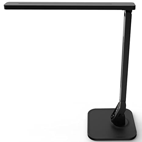 Lampat Led Desk Lamp Dimmable Led Table Lamp Black 4 Lighting Modes 5 Level Dimmer Touch Sensitive Control Panel 1 Hour Auto Timer 5v 2a Usb