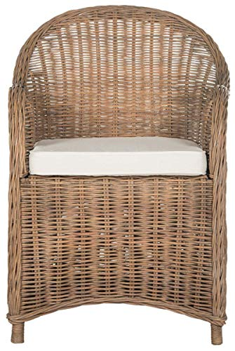 Safavieh Home Collection Hemi Brown & White Striped Wicker Club Chair, Standard (Maine Furniture Wicker)