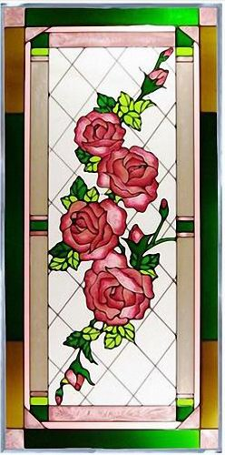 """Roses 20.5"""" Wide x 42"""" High Hand Painted Art Glass Panel"""