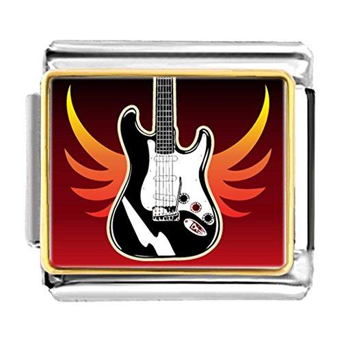 - GiftJewelryShop Gold Plated Music Electric Guitar Bracelet Link Photo Italian Charm Bracelets